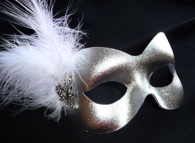 Silver & white feather butterfly masquerade mask